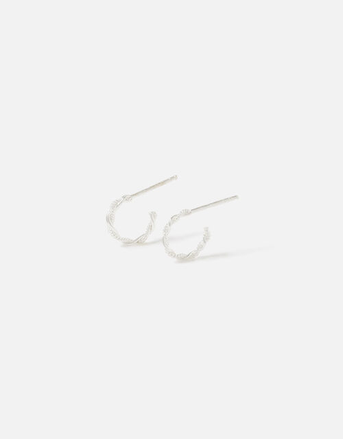 Sterling Silver Twisted Rope Hoops, , large