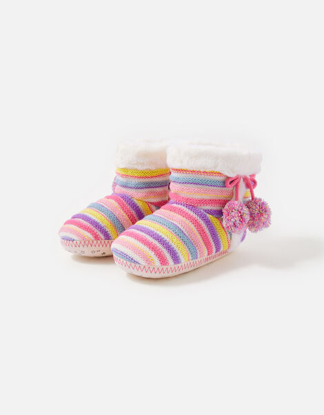 Girls Stripe Knit Slipper Boots Multi, Multi (BRIGHTS-MULTI), large