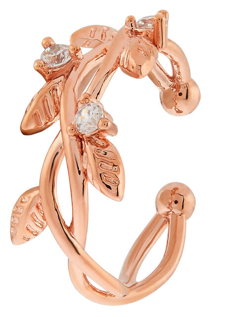 Rose Gold-Plated Sparkle Vine Ear Cuff, , large