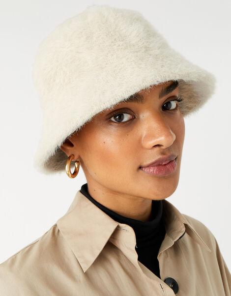 Fluffy Bucket Hat Natural, Natural (NATURAL), large