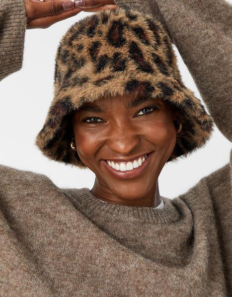 Leopard Fluffy Bucket Hat, , large