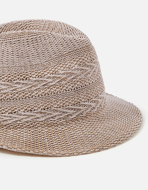 Packable Chevron Trilby Hat, Natural (NATURAL), large