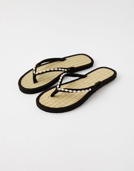 Pearl Beaded Seagrass Flip Flops  Black, Black (BLACK), large