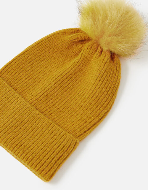 Knit Pom-Pom Beanie with Recycled Fabric, Yellow (OCHRE), large