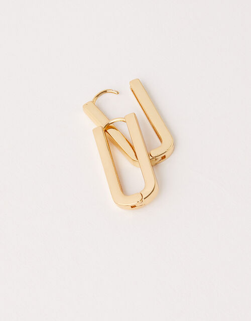 Gold-Plated Rectangle Link Earrings, , large