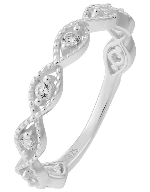 Sterling Silver Sparkle Weave Ring, White (ST CRYSTAL), large
