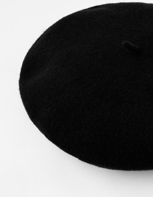 Beret Hat in Pure Wool, Black (BLACK), large