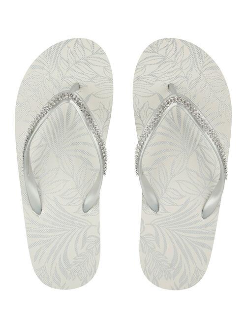 Silver Diamante Flip Flops, Silver (SILVER), large