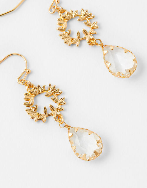 Statement Vine and Gem Drop Earrings, , large