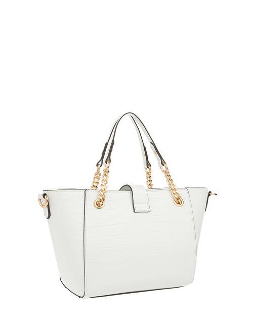 Katie Handheld Animal-Print Bucket Bag, White (WHITE), large