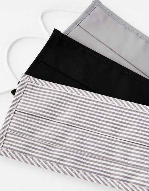 Stripe and Plain Face Covering Multipack, , large