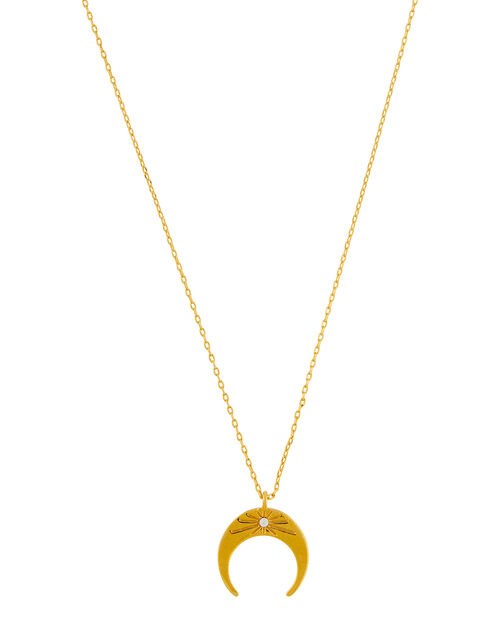 Gold-Plated Sparkle Star Horn Necklace, , large