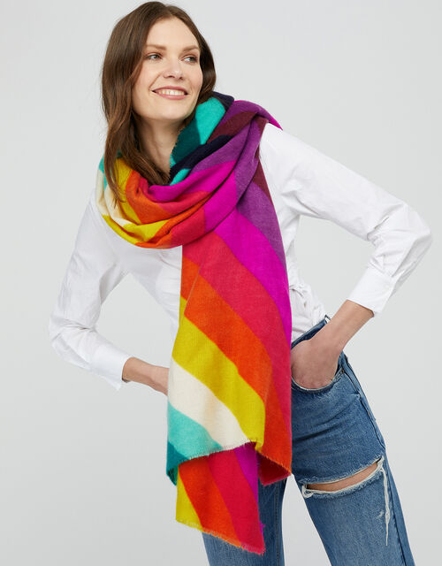 Rainbow Chevron Blanket Scarf, , large