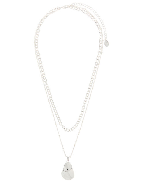 Double-Layered Hammered Pendant Necklace, , large