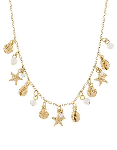 Shell and Starfish Charm Necklace, , large