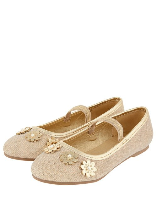 Metallic Floral Ballerina Shoes, Gold (GOLD), large