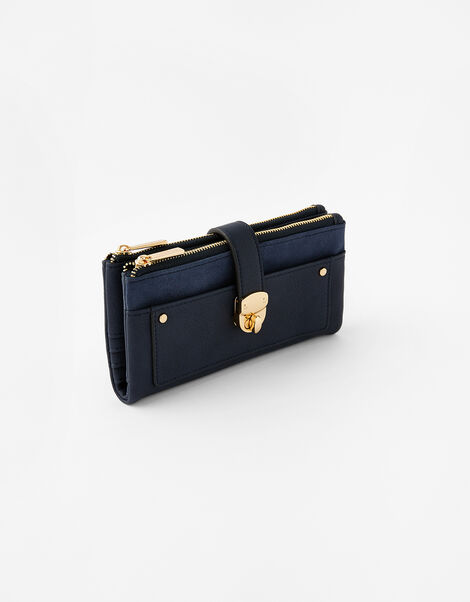 Freya Push Lock Wallet  Blue, Blue (NAVY), large