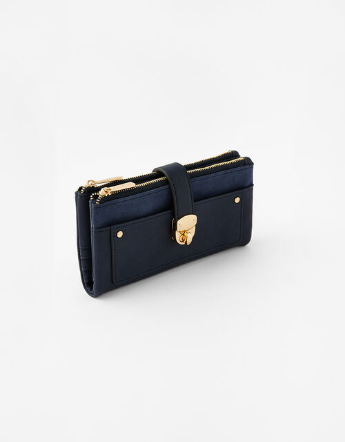 Freya Push Lock Wallet , Blue (NAVY), large