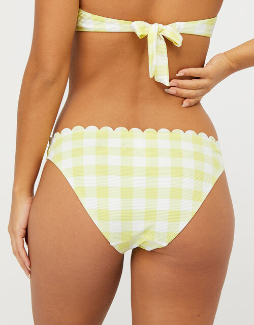 Sasha Gingham Scalloped Bikini Briefs, Yellow (YELLOW), large