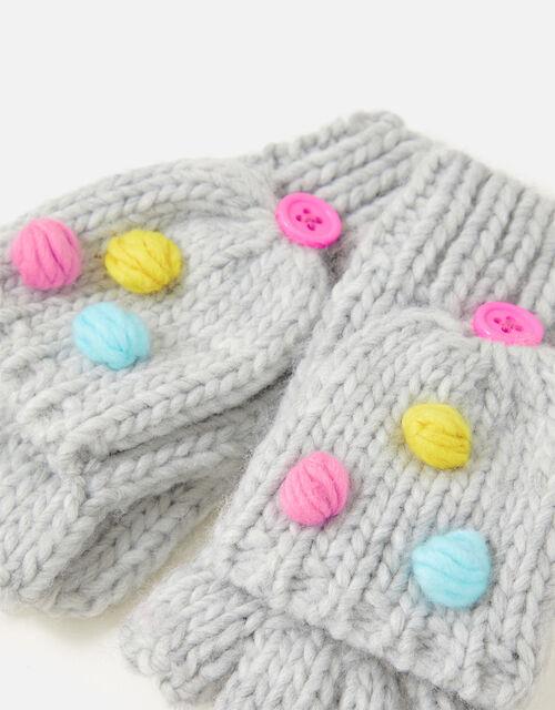 Girls Pom-Pom Capped Mittens , Grey (GREY), large