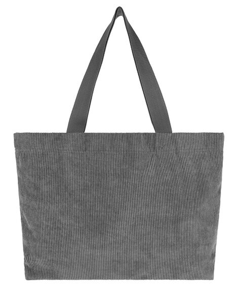 Cord Shopper Bag Grey, Grey (GREY), large