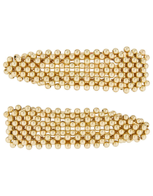 Metallic Bead Hair Clips, , large