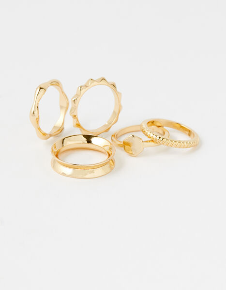 Geo Stacking Ring Set with Recycled Metal Gold, Gold (GOLD), large