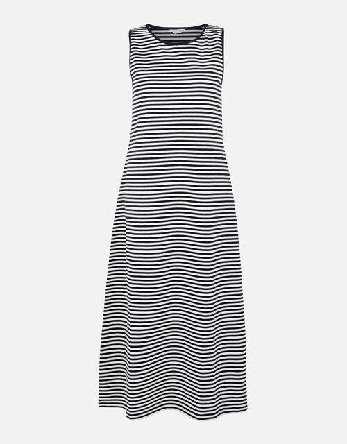 Stripe Jersey Vest Dress, Blue (NAVY), large