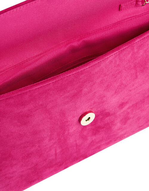 Natalie Suedette Clutch Bag, Pink (FUCHSIA), large