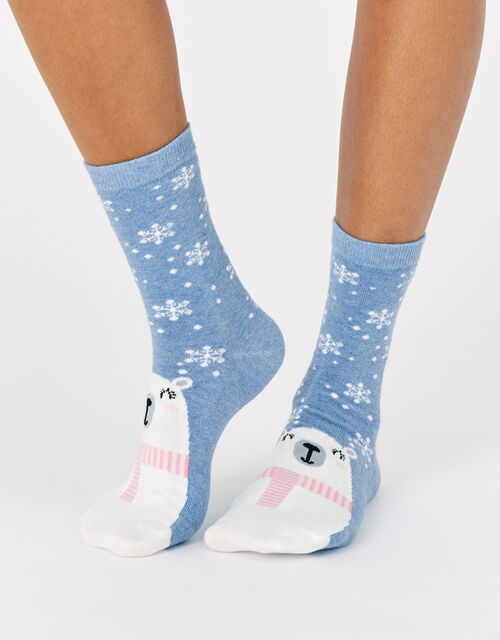 Polar Bear Snowflake Socks, , large