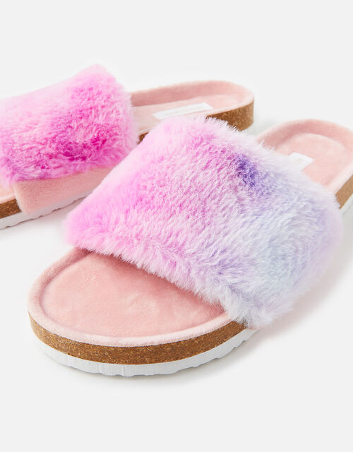 Symone Fluffy Slider Slippers, Multi (BRIGHTS-MULTI), large