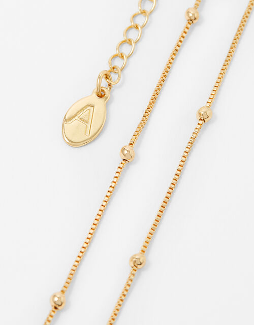 Beaded Chain Necklace, Gold (GOLD), large