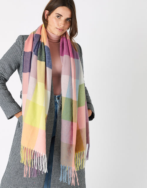 Sadie Colour-Block Check Blanket Scarf, , large