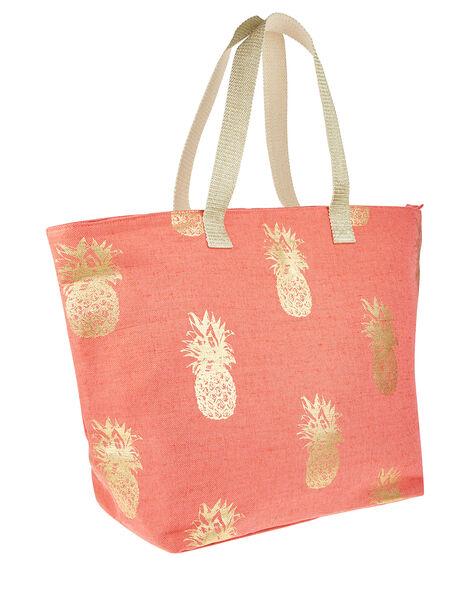 Metallic Pineapple Print Tote Bag Orange, Orange (CORAL), large