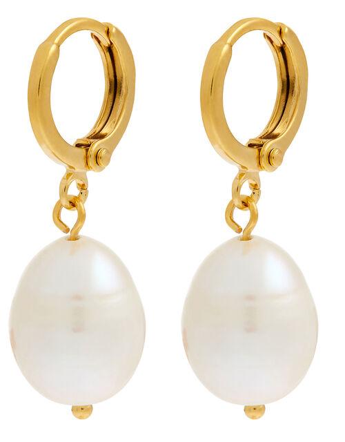 Pearly Drop Huggie Hoop Earrings, , large