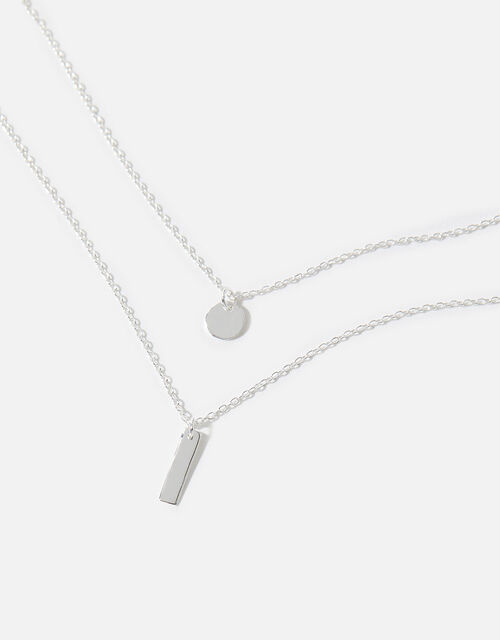 Sterling Silver Layered Pendant Necklace, , large