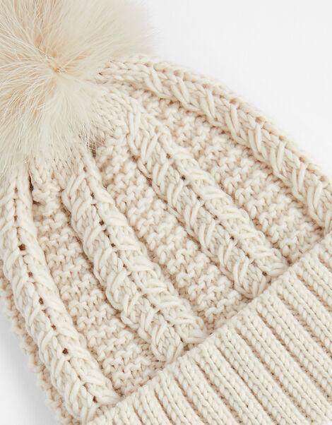 Chunky Knit Pom-Pom Beanie Cream, Cream (CREAM), large