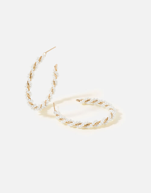 Midnight Sky Twisted Pearl Hoops, , large