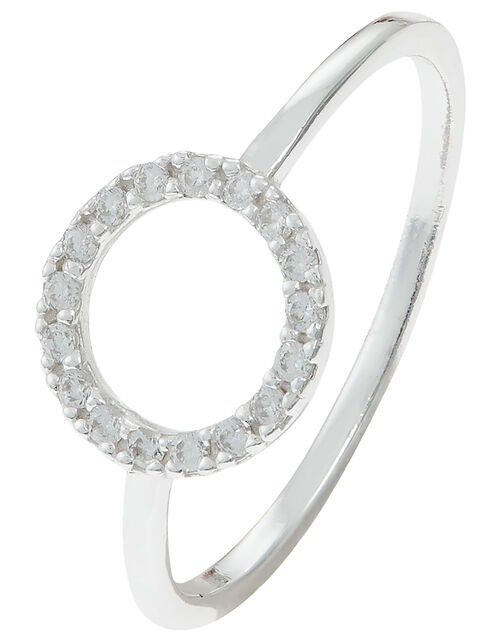 Sterling Silver Sparkle Circle Ring, White (ST CRYSTAL), large