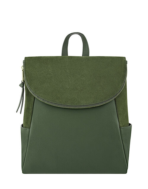 Isabel Zip Flap Leather Backpack, Green (KHAKI), large