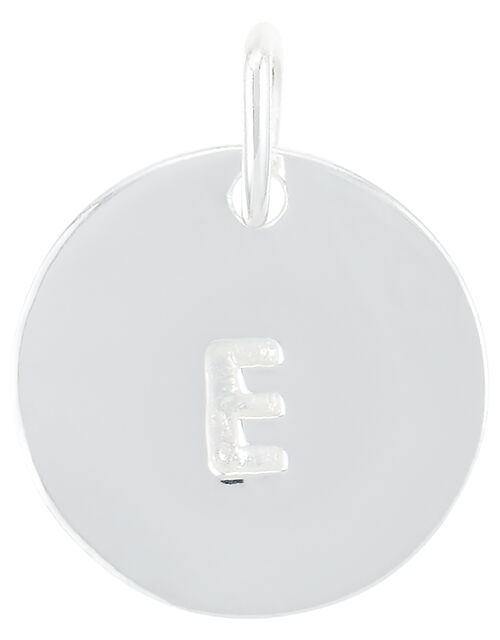 Sterling Silver E Initial Charm, , large