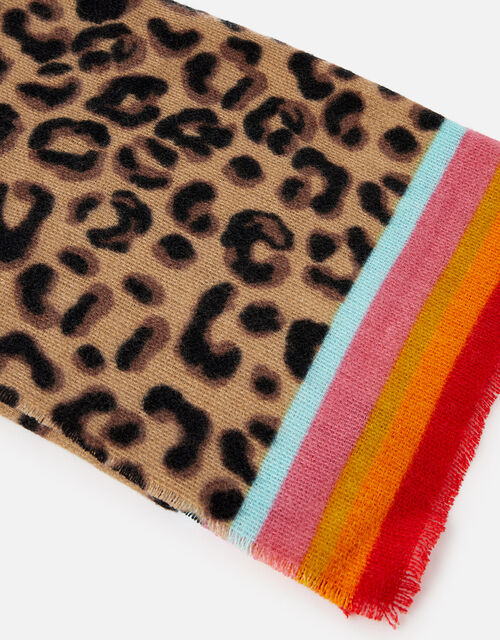 Leopard Border Print Scarf , , large