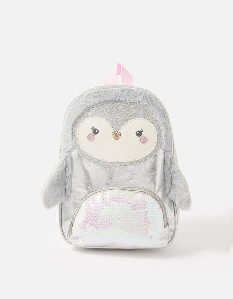 Fluffy Sequin Penguin Backpack , , large