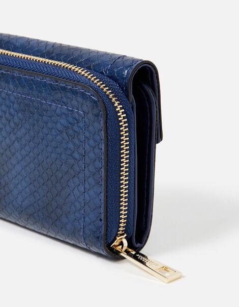 Faye Snake Foldover Purse  Blue, Blue (NAVY), large