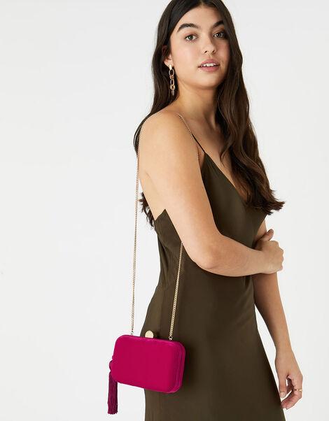 Velvet Hardcase Clutch Bag Pink, Pink (FUCHSIA), large