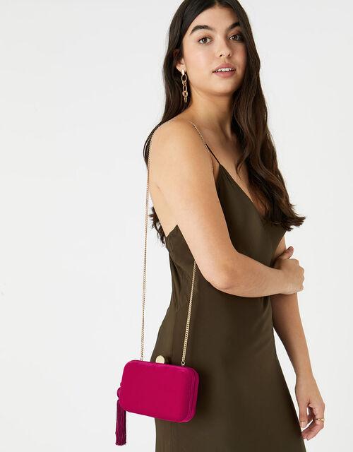 Velvet Hardcase Clutch Bag, Pink (FUCHSIA), large