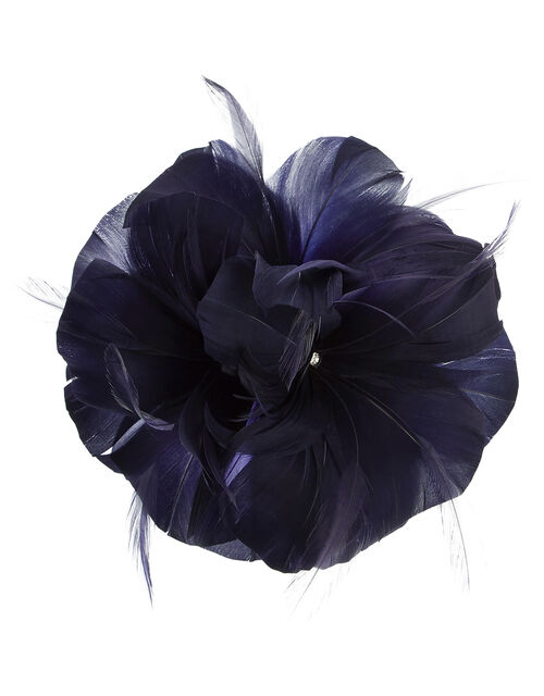 Abigail Net Bow Hair Clip, Blue (NAVY), large