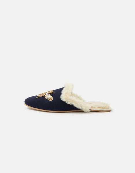 Bee Faux Fur Slippers Blue, Blue (NAVY), large