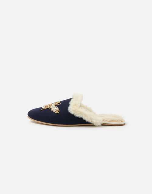 Bee Faux Fur Slippers, Blue (NAVY), large