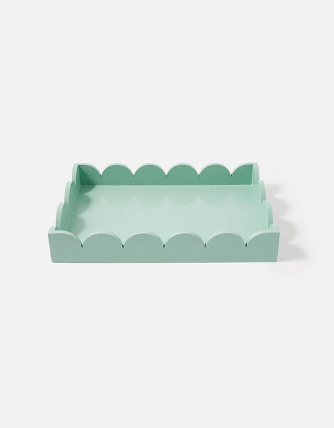 Natural Wood Scallop Tray  Blue, Blue (BLUE), large